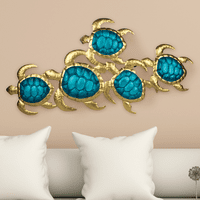 Turtle Cay Blue & Gold Wall Hanging - CLEARANCE