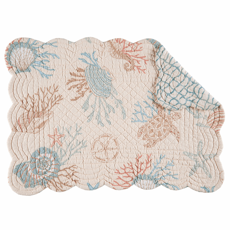 Turtle Reef Scalloped Placemats - Set of 6