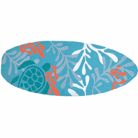 Turtle Time Surfboard Indoor/Outdoor Rug
