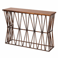 Twisted Iron Ribbon Console Table with Solid Wood Top