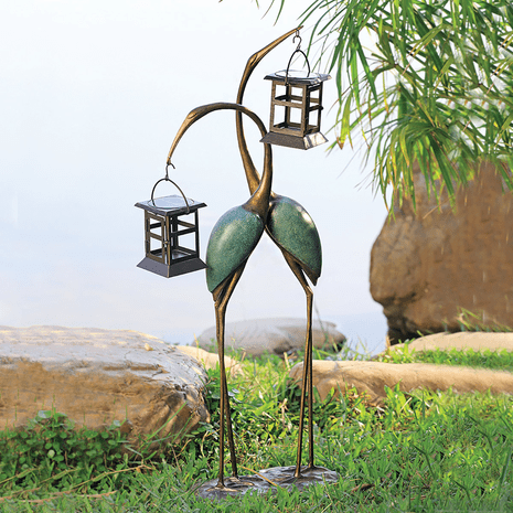 Two Cranes LED Lantern Sculpture