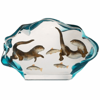 Two Sea Otters Swimming Figurine
