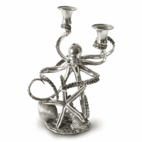 Two Taper Pewter Octopus Candelabrum