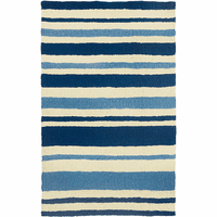 Two-Tone Blue Stripe Indoor/Outdoor Rug Collection