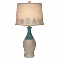 Two Tone Table Lamp with Multicolor Shell Shade