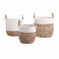 Two Tone Woven Baskets - Set of 3