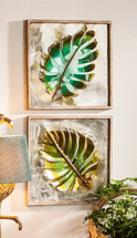 Two Tropical Tree Leaf Wall Hangings