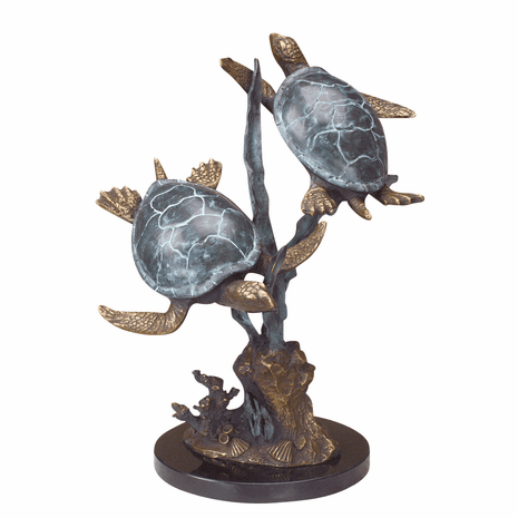 Two Turtles Sculpture