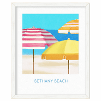 Umbrella Beach Personalized Framed Poster