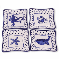 Under the Sea Blue Ocean Appetizer Plates - Set of 4