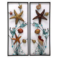 Undersea Shell & Coral Metal Wall Art - Set of 2