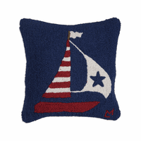 US Flag Boat Hooked Wool Pillow