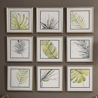 Verdant Impressions Leaf Framed Prints - Set of 9
