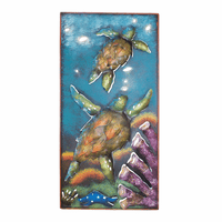 Vertical Sea Turtle Reef Panel Metal Wall Art
