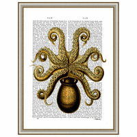 Vintage Yellow Octopus Underside Framed Print