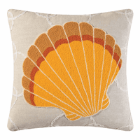 Washed Ashore Orange Shell Tufted Pillow