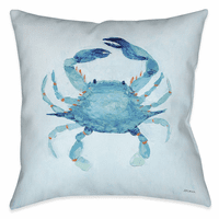 Watercolor Crab 18 x 18 Outdoor Pillow