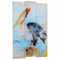 Watercolor Pelican Wood Wall Art