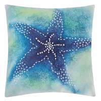 Watercolor Reef Starfish Pillow