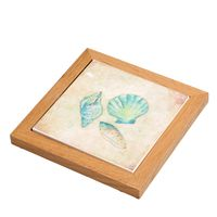 Watercolor Shells Framed Stone Trivet - CLEARANCE