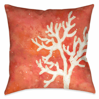 Watercolor Waves Coral 18 x 18 Outdoor Pillow