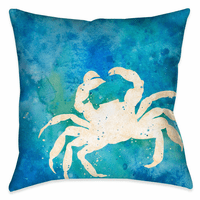 Watercolor Waves Crab 18 x 18 Outdoor Pillow