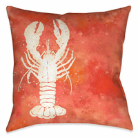 Watercolor Waves Lobster 18 x 18 Outdoor Pillow