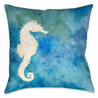 Watercolor Waves Seahorse 18 x 18 Outdoor Pillow
