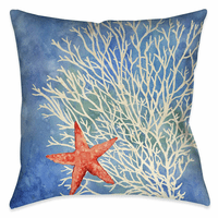 Watercolor Waves Starfish 18 x 18 Outdoor Pillow