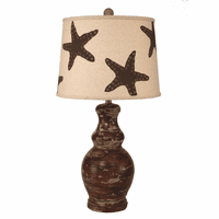 Weathered Brown Table Lamp with Starfish Shade