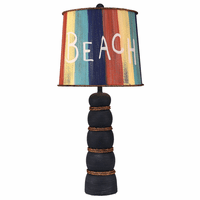 Weathered Navy Beach Pot Accent Lamp