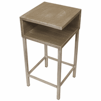 Weathered Tan Sand Dollar Drink Table on Iron Base