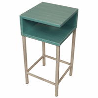 Weathered Turquoise Sea Drink Table on Iron Base