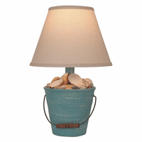 Weathered Turquoise Sea Mini Bucket of Shells Accent Lamp