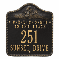 Welcome to the Beach Address Plaque - Black and Gold