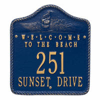 Welcome to the Beach Address Plaque - Blue and Gold