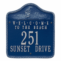 Welcome to the Beach Address Plaque - Blue and Silver