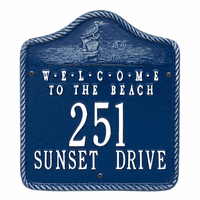 Welcome to the Beach Address Plaque - Blue and White