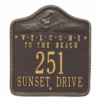 Welcome to the Beach Address Plaque - Bronze and Gold