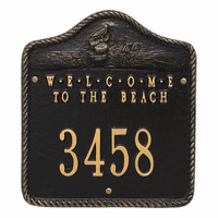 Welcome to the Beach House Number Plaque - Black and Gold