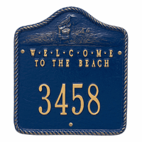 Welcome to the Beach House Number Plaque - Blue and Gold