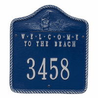 Welcome to the Beach House Number Plaque - Blue and Silver
