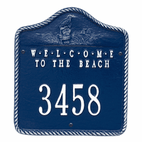 Welcome to the Beach House Number Plaque - Blue and White