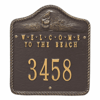 Welcome to the Beach House Number Plaque - Bronze and Gold