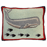 Whale and Fish Hooked Wool Pillow