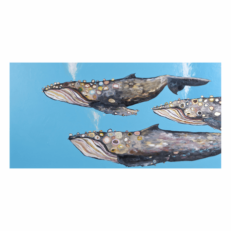 Whale Migration Blue Canvas Art