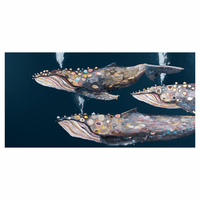 Whale Migration Indigo Wall Art