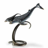 Whale Pair on Wave Statue