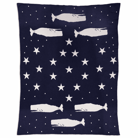 Whales Under the Stars Cotton Knit Throw Blanket