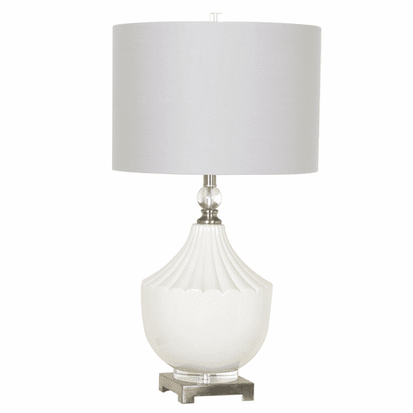 White Ceramic and Crystal Table Lamp
